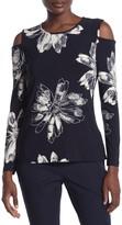 Donna Karan Long Sleeve Cold Shoulder Top