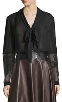 Maiyet Embroidered-Sleeve Tie-Neck Blouse, Black