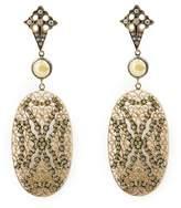 Loree Rodkin lace Maltese cross drop diamond earrings