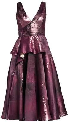 Marchesa Metallic Jacquard Peplum Tea Gown