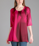 Lily Fuchsia & Black Abstract Tunic - Plus Too