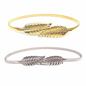 Yueser 2 Pieces Women Leaf Belt Alloy Elastic Waist Belt Stretch Metal Belt Belt for Dresses