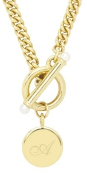 brook & york Stella Imitation Pearl Initial Toggle Necklace