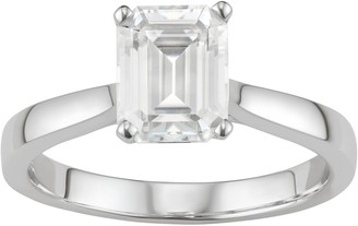 14K White Gold Lab-Created Moissanite 2 1/2 Ct. T.W. Emerald-Cut Solitaire Ring