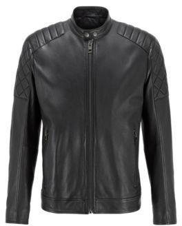 HUGO BOSS Slim-fit biker jacket in waxed leather