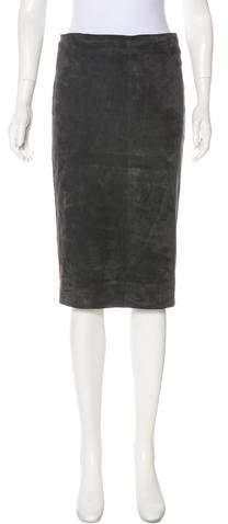 Brunello Cucinelli Suede Pencil Skirt
