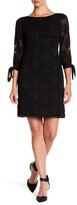 Donna Ricco Textured Sheer Sleeve Dress