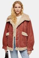 Topshop Womens Rust Borg Jacket - Rust
