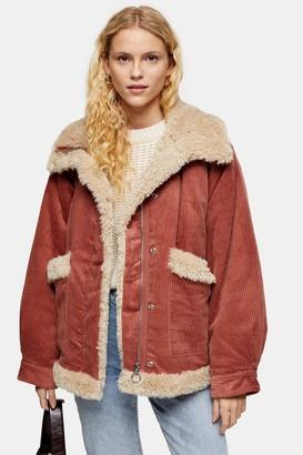 Topshop Rust Borg Jacket