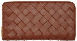 Bottega Veneta Red Intrecciato Zip Wallet
