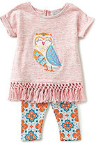Rare Editions Baby Girls 3-24 Months Owl-Applique Top & Mixed-Media Leggings Set