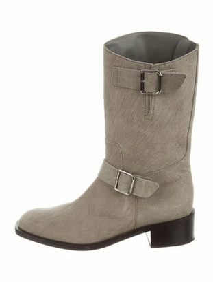 Chanel Leather Moto Boots Grey