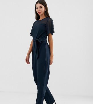 Y.A.S Tall Lora mesh yolk jumpsuit-Blue