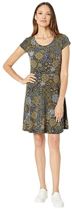 MICHAEL Michael Kors Patchwork Medallion Cap Dress (True Navy/Marigold) Women's Clothing