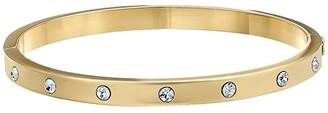 Kate Spade Set in Stone Stone Hinged Bangle (Clear/Gold) Bracelet
