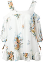 Alexander McQueen floral cold shoulder blouse