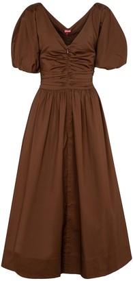 STAUD Greta cotton poplin midi dress