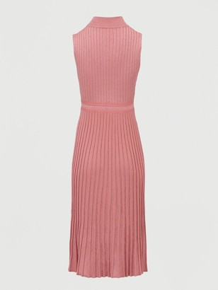 Very High Neck Knitted Pencil Dress - Blush