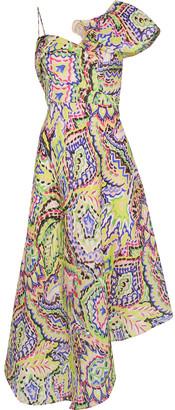 DELPOZO Asymmetric Printed Silk-gazar Midi Dress