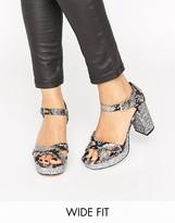 Asos HUMMINGBIRD Wide Fit Glitter Heeled Sandals