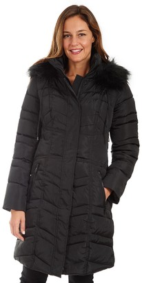 Fleet Street Women's Long Faux Down Quilted Coat with Detachable Faux Fur Trimmed Hood