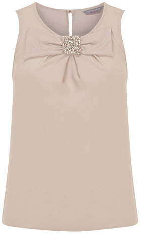 Dorothy Perkins Petite blush jewelled bow top