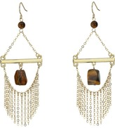 French Connection French Wire Trapeze Link with Chain Fringe and Tigerseye Chandelier Earrings