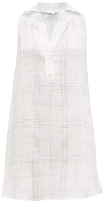 POUR LES FEMMES Checked Linen-blend Nightdress - White Print