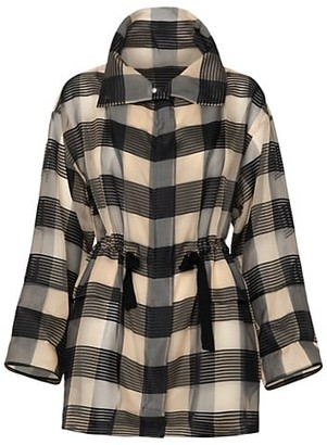 Akris Buffalo Plaid Silk Drawstring Parka