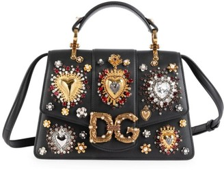 Dolce & Gabbana Small Amore Embellished Leather Top Handle Bag
