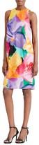 Lauren Ralph Lauren Asymmetric Overlay Watercolor Floral Shift Dress