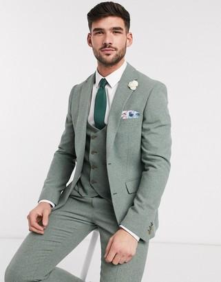 Harry Brown slim fit wedding summer tweed suit jacket