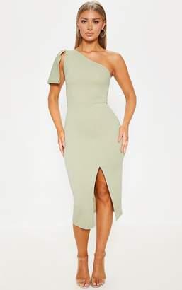 PrettyLittleThing Sage Green One Shoulder Bow Detail Midi Dress