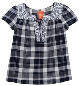 Joe Fresh Embroidered Neckline Linen Top (Big Girls)