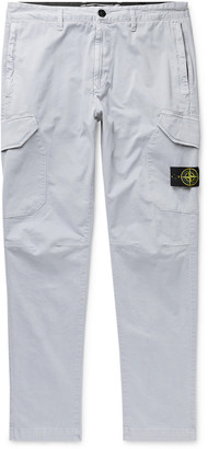 Stone Island Tapered Logo-Appliqued Garment-Dyed Stretch-Cotton Twill Cargo Trousers