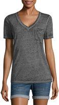 Arizona Short Sleeve V Neck T-Shirt-Juniors