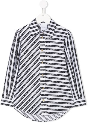 Gaelle Paris Kids Striped Logo Shirt