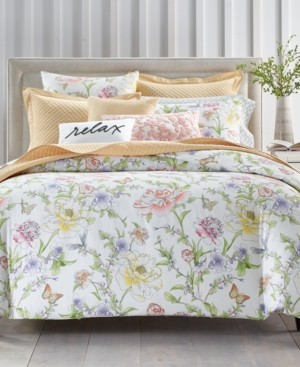 Charter Club Damask Designs Blossom Cotton 300-Thread Count 3-Pc. Full/Queen Duvet Cover Set, Created for Macy's Bedding