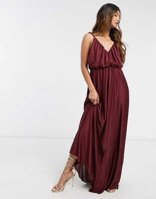 ASOS DESIGN plunge-neck maxi dress with blouson top in oxblood