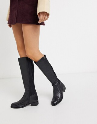 Carvela stretch back knee high boot in black leather