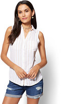 New York & Co. Soho Soft Shirt - Sleeveless - Stripe / Dot