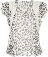 Sea ruffled sleeve crochet trim blouse
