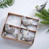 west elm Silver Glitter Bird Clip Ornaments (Set of 4)