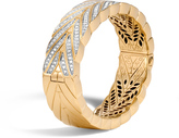 John Hardy Modern Chain 17.5MM Hinged Bangle, 18K Gold with Diamonds