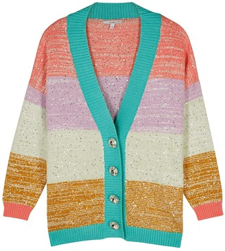 Olivia Rubin Cecily Striped Sequin-embellished Cardigan
