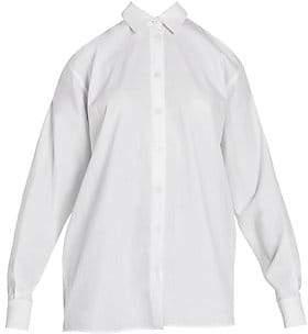 Prada Women's Cotton Poplin Cold Shoulder Blouse