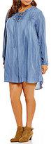Blu Pepper Plus Lace-Up Long Sleeve Tencel Dress