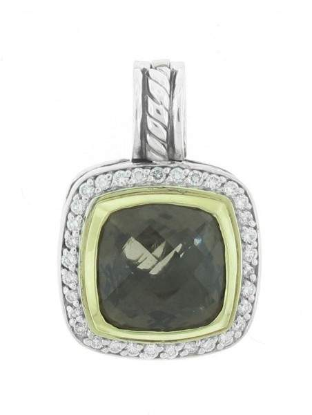 David Yurman Sterling Silve 18k Yellow Gold Smokey Quartz and Diamond Albion Pendant