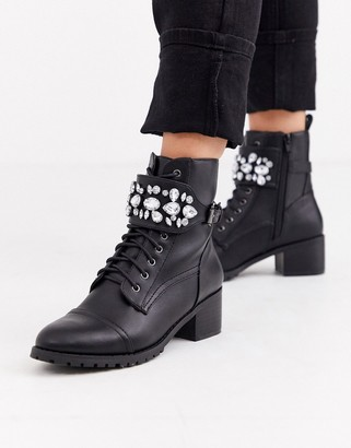 Head Over Heels By Dune Perlo jewelled strap mid heeled biker ankle boots-Black
