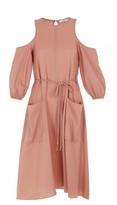 Tibi Winston Flannel Cut Out Shoulder Dress